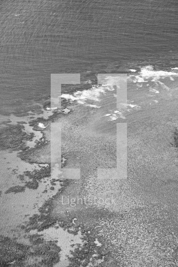 aerial view above the ocean