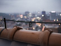 love lock on a rooftop railing