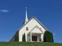 white church building