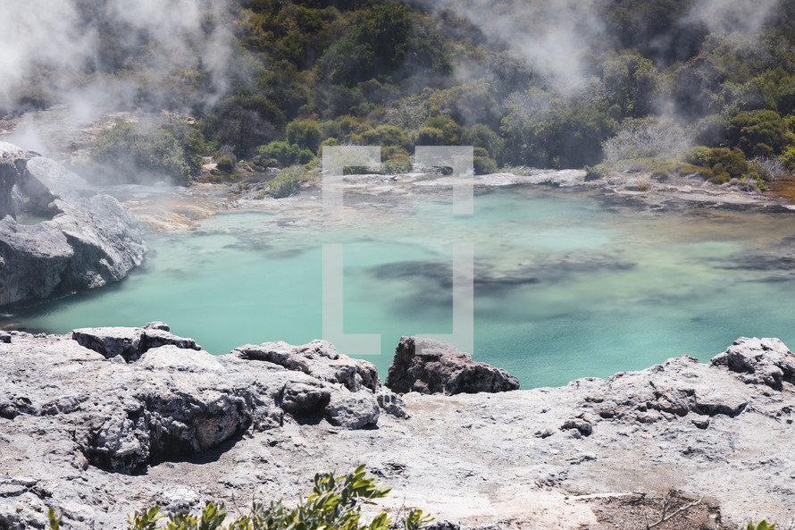 steam at Inferno Crater Waimangu swimming hole