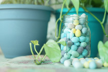 candy Easter eggs in a mason jar