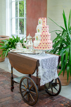tea and cake on a cart