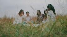 Bible study in a field