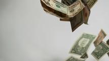 falling cash on white background.