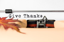 Give thanks in type on a typewriter