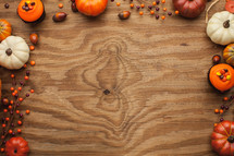 fall themed border on wood background