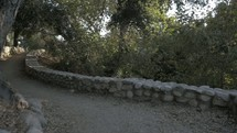 walking on a path lined with a stacked stone wall