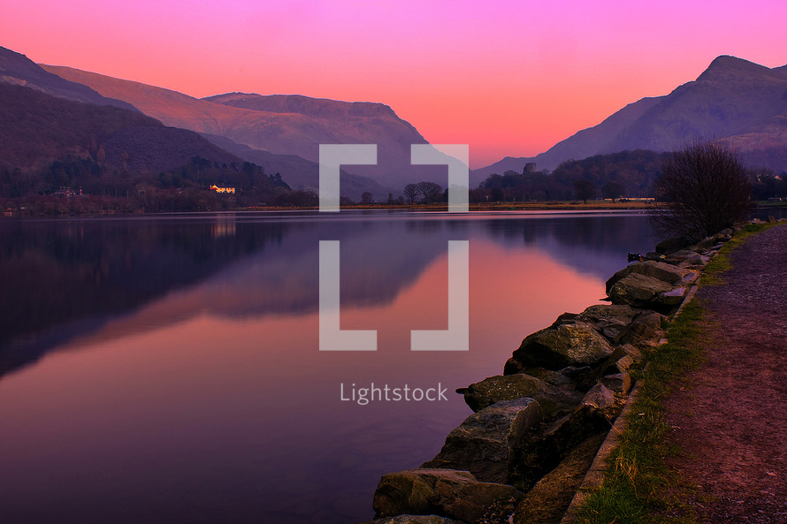 purple mountains and lake view