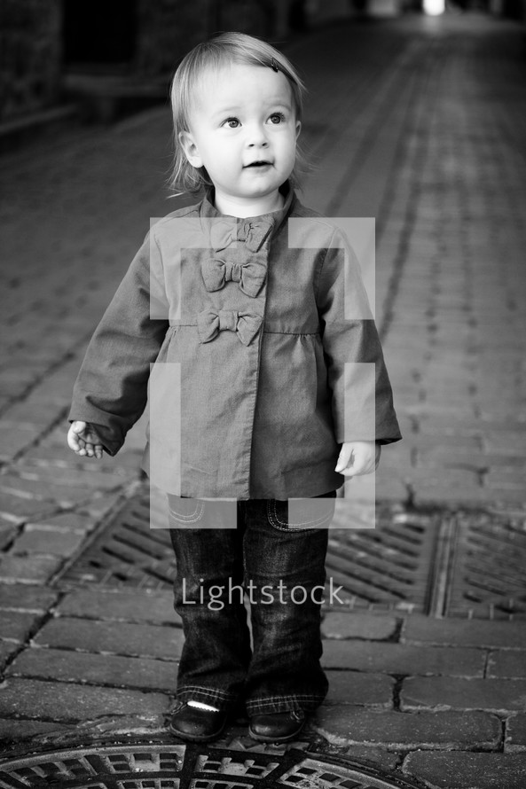 toddler girl in a peacoat