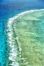 aerial view over the great barrier reef