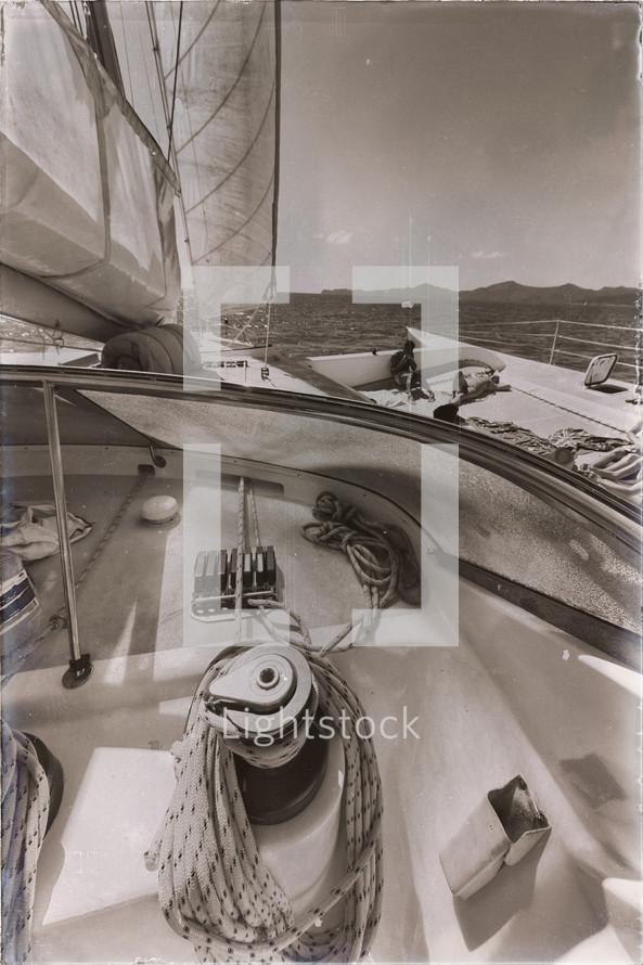 rope on a catamaran