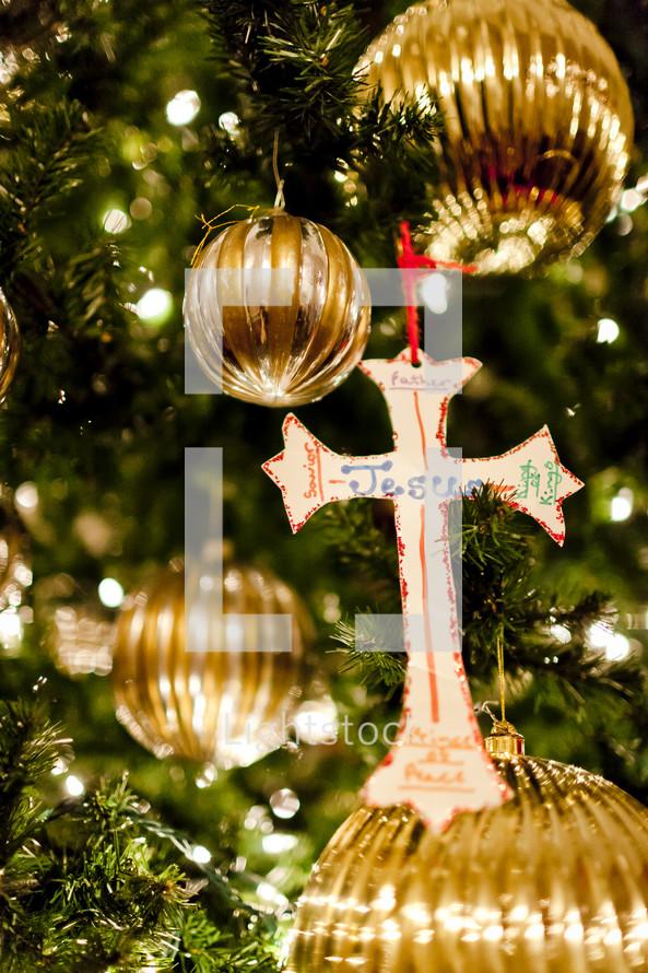Jesus written on a cross handmade ornament