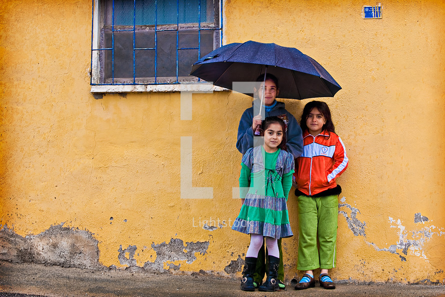 Turk, Turkish, kids in rain