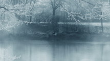 fog over an icy lake