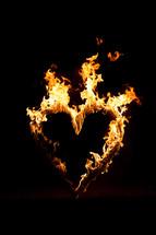 heart shape of flames