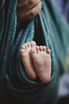 The bottom of an infant's little feet