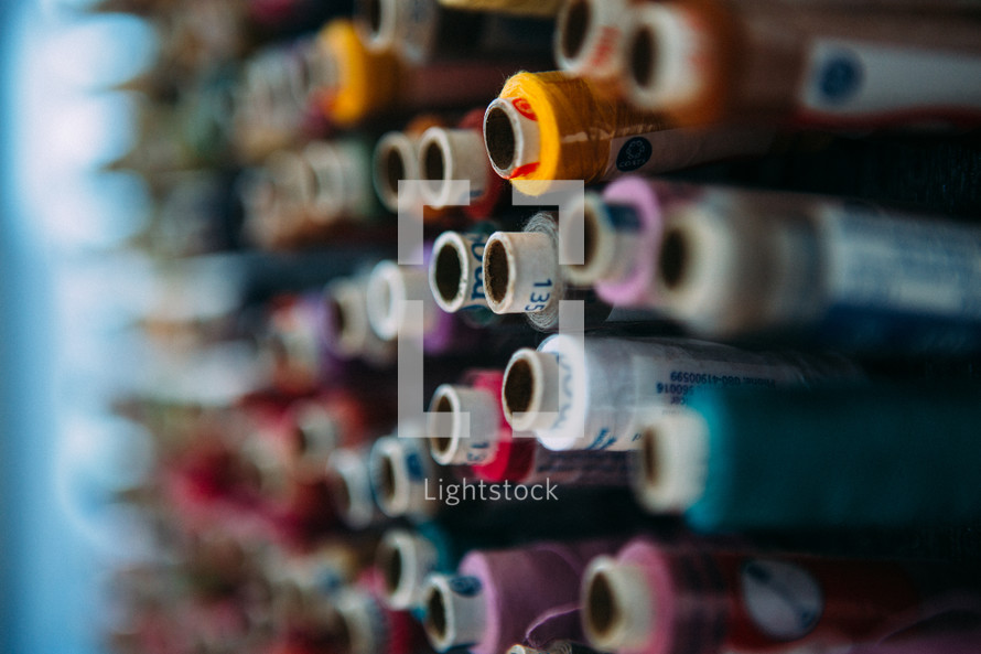 rolls of threads and yarns