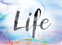 word life on watercolor background
