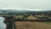 Aerial view over Irish countryside