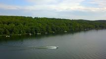drone flying over Deep Creek in summer
