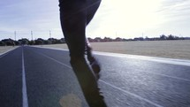 a man running on a track