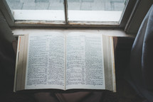 open Bible in a window