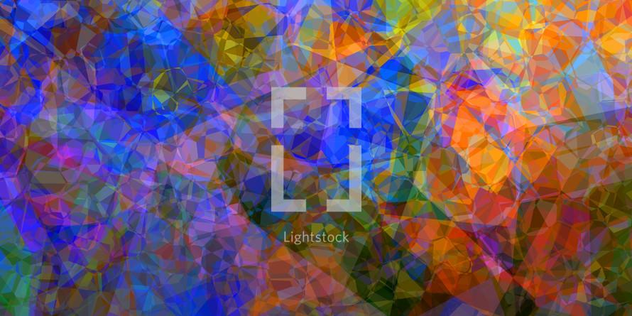 bold multicolored polygon backdrop