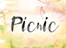 word picnic on watercolor background