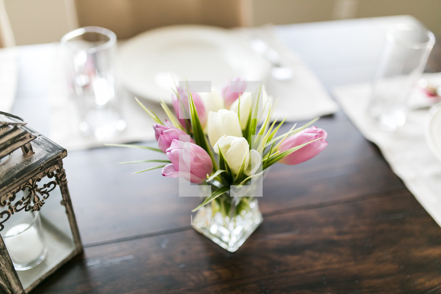 tulips on a table for Easter