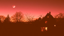 moon in a red sky