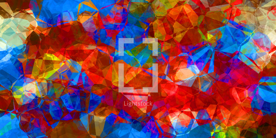 vivid red and blue multicolor random polygon design