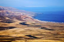 aerial view over a coastline