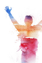 Watercolor artwork of person raising their hands in praise.
