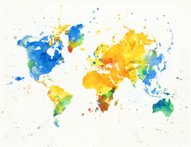 Watercolor map of the world with splotches of colored paint.