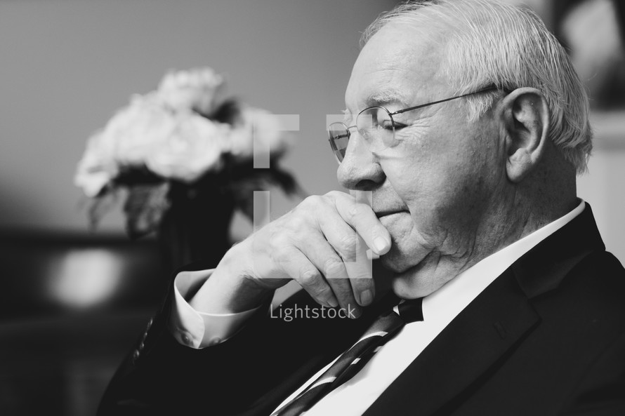 elderly man thinking