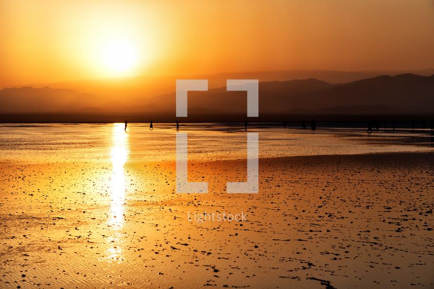 Salt Lake in Ethiopia at sunset