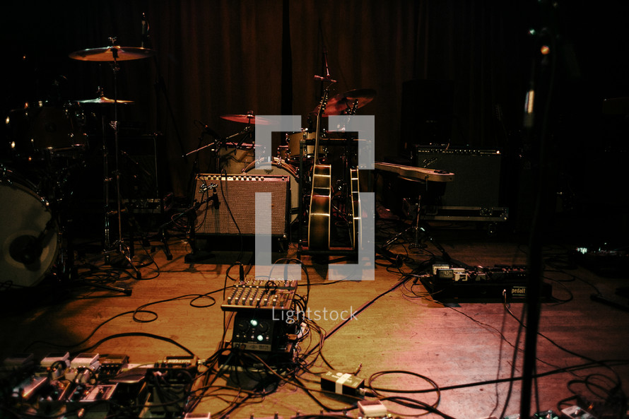 guitar pedals on a stage