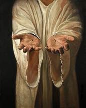 pierced hands of Jesus