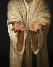 pierced hands of Jesus