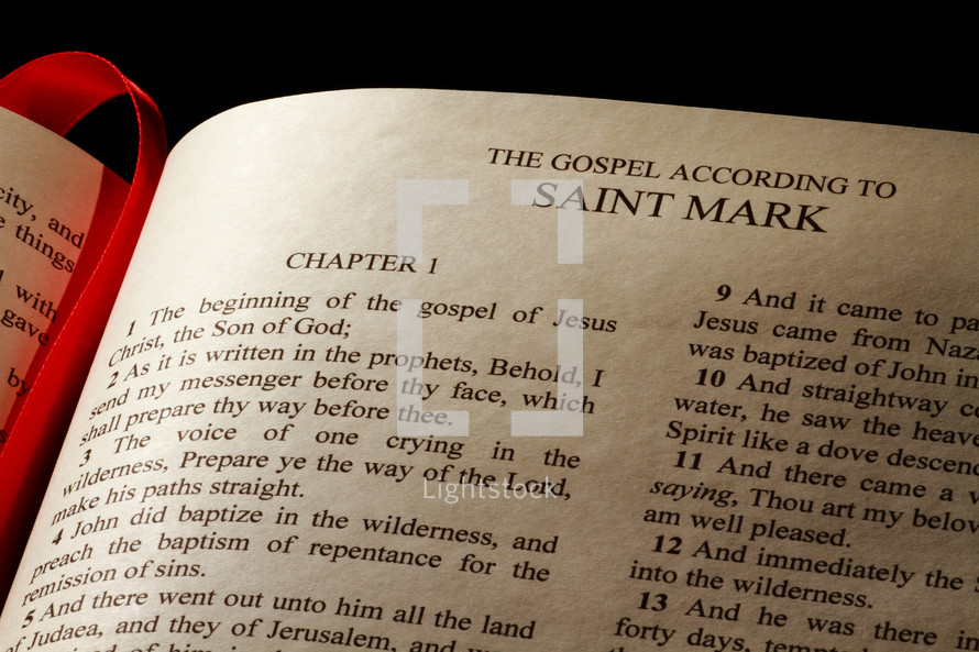 Open Bible in the book of Mark