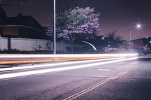 glow from street lamps on a highway