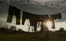 clothes drying on a clothes line