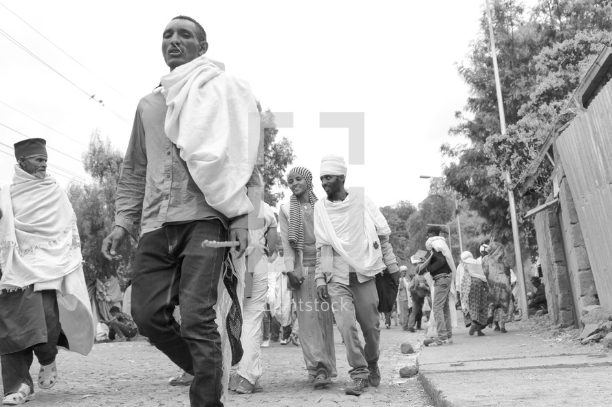 people heading to a celebration in Ethiopia