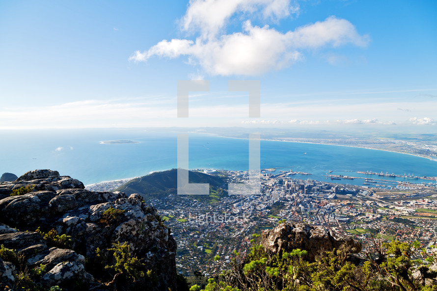 view of the South African coastline form a mountain