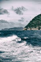 boat trail in the ocean