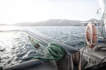 rope on a catamaran deck