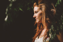 portrait and side profile of a woman outdoors