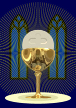 Chalice with the Host-The Holy Eucharist with the aureole, in a dark blue chapel