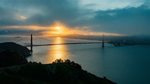 San Franciscos bay during the sunrise
