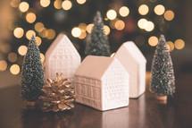 white porcelain Christmas village houses